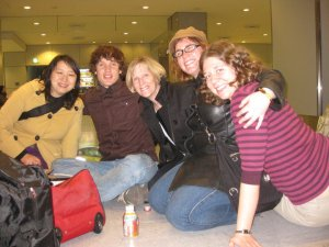 A Photo That Sherri Took of Masana, Peter, Maureen, Sara and Myself at Narita Airport the Day After The Quake